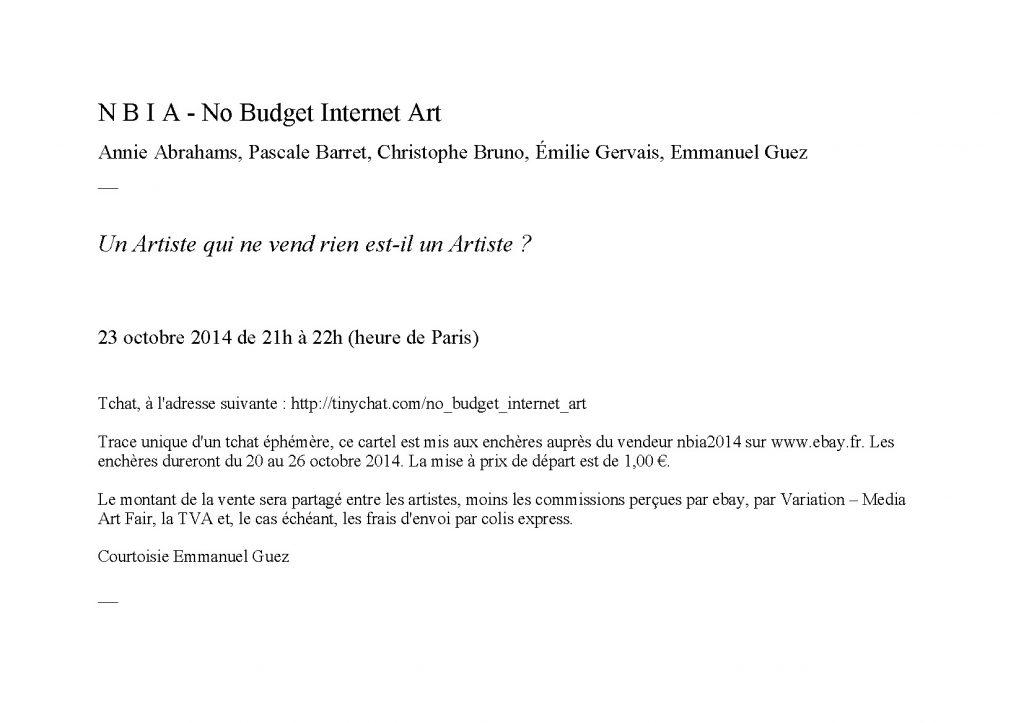 No Budget Internet Art - Un artiste qui ne vend rien est-il un artiste ?