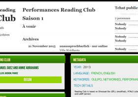 Publication du Reading Club dans le Vol. 3 de l'anthologie de l'Electronic Literature Organization