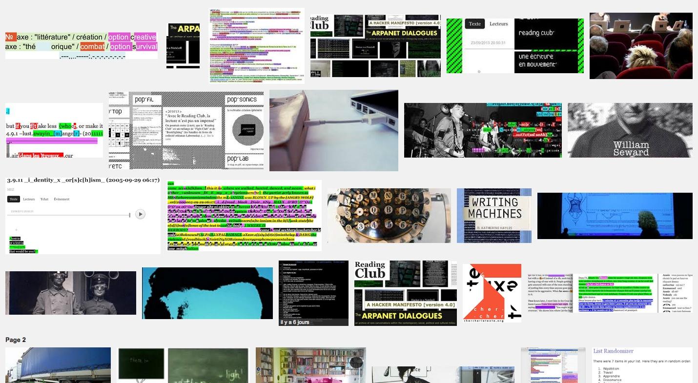 Reading Club – Chercher le Texte manifestation internationale de littérature numérique – BPI Beaubourg – 23 sept 13